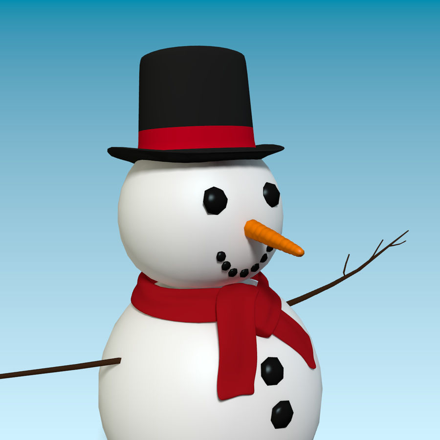 Cartoon Style Snowman royalty-free 3d model - Preview no. 4