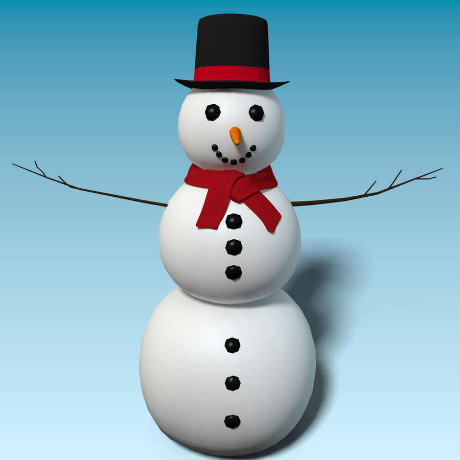 Cartoon Style Snowman royalty-free 3d model - Preview no. 2