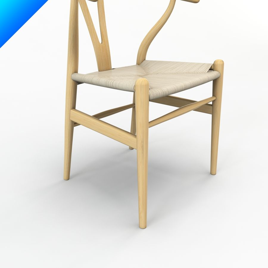Hans Wegner Ch24 Wishbone Chair royalty-free 3d model - Preview no. 7