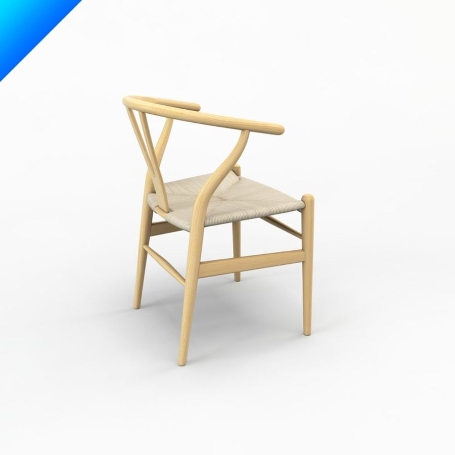 Hans Wegner Ch24 Wishbone Chair royalty-free 3d model - Preview no. 2