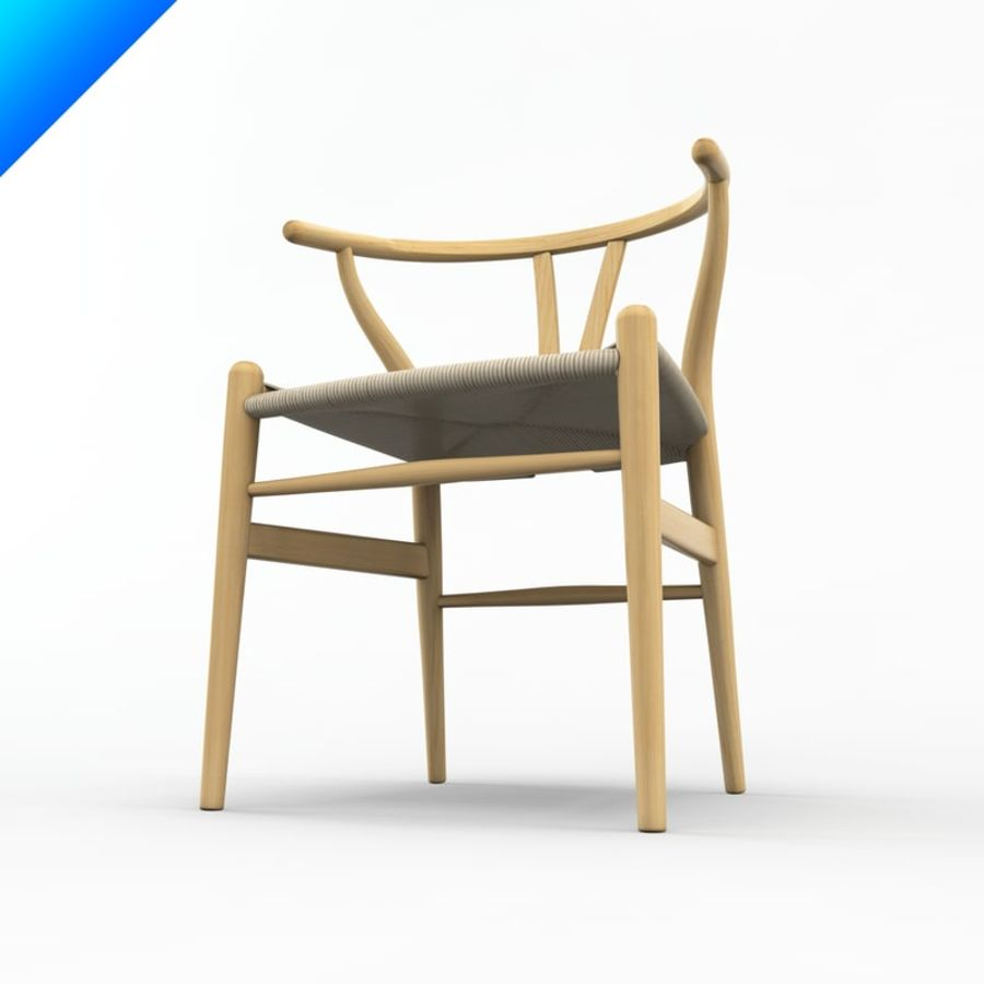Hans Wegner Ch24 Wishbone Chair royalty-free 3d model - Preview no. 6
