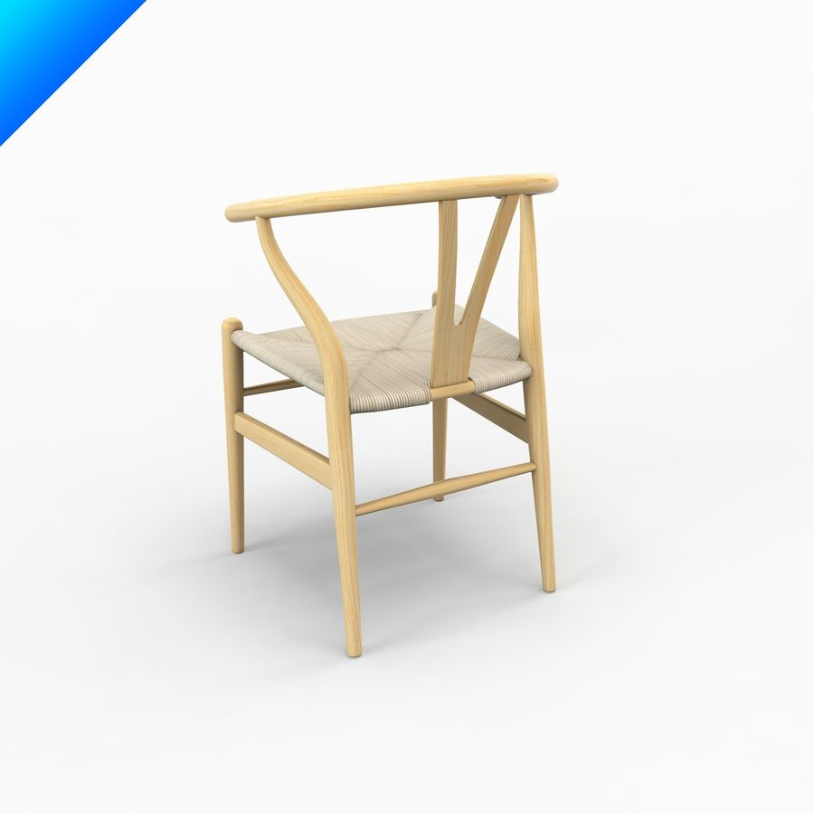 Hans Wegner Ch24 Wishbone Chair royalty-free 3d model - Preview no. 3