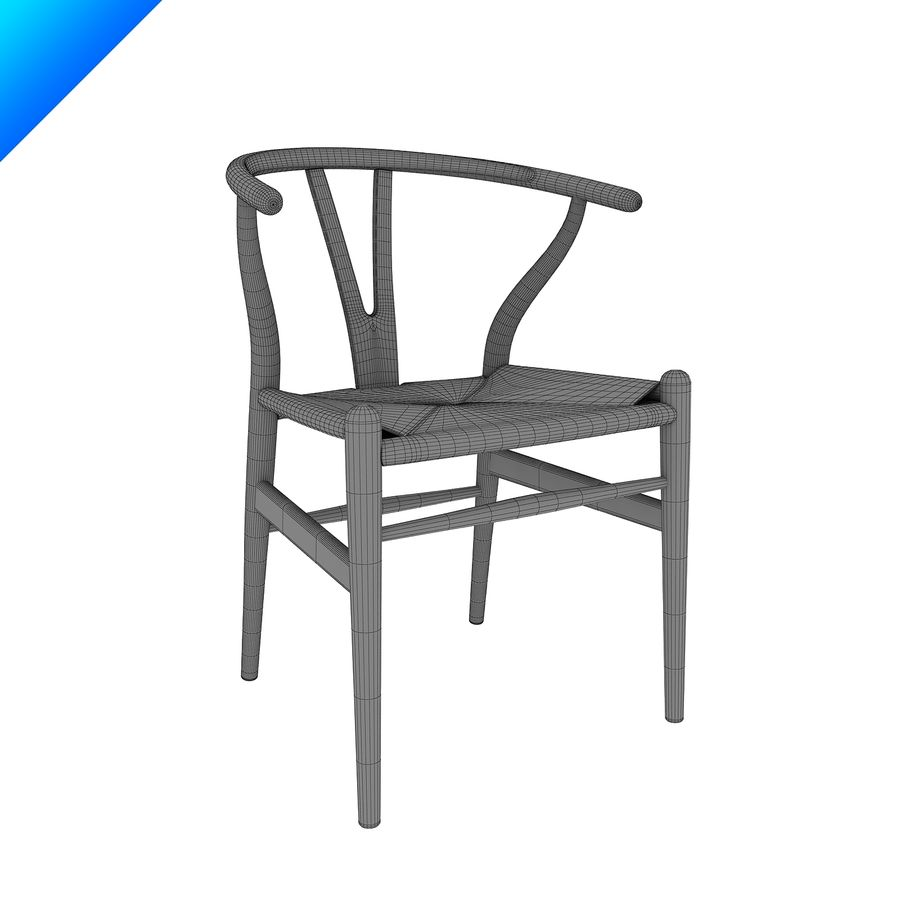 Hans Wegner Ch24 Wishbone Chair royalty-free 3d model - Preview no. 9