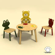 kids table with chairs 3d model