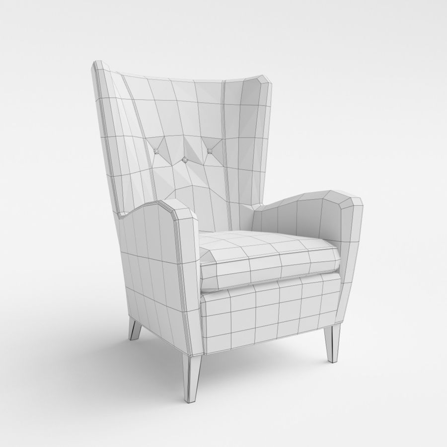 Morgan Furniture Seville 750 - Wing fauteuil royalty-free 3d model - Preview no. 6
