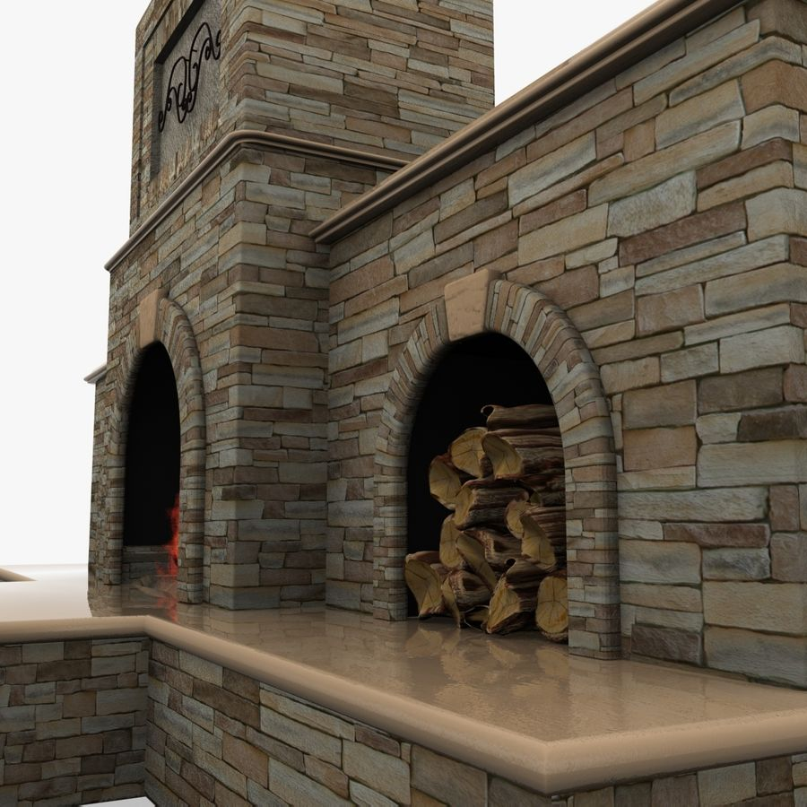 Animated Outdoor Fireplace royalty-free 3d model - Preview no. 5
