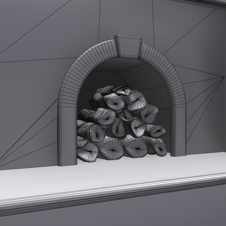 Animated Outdoor Fireplace royalty-free 3d model - Preview no. 10