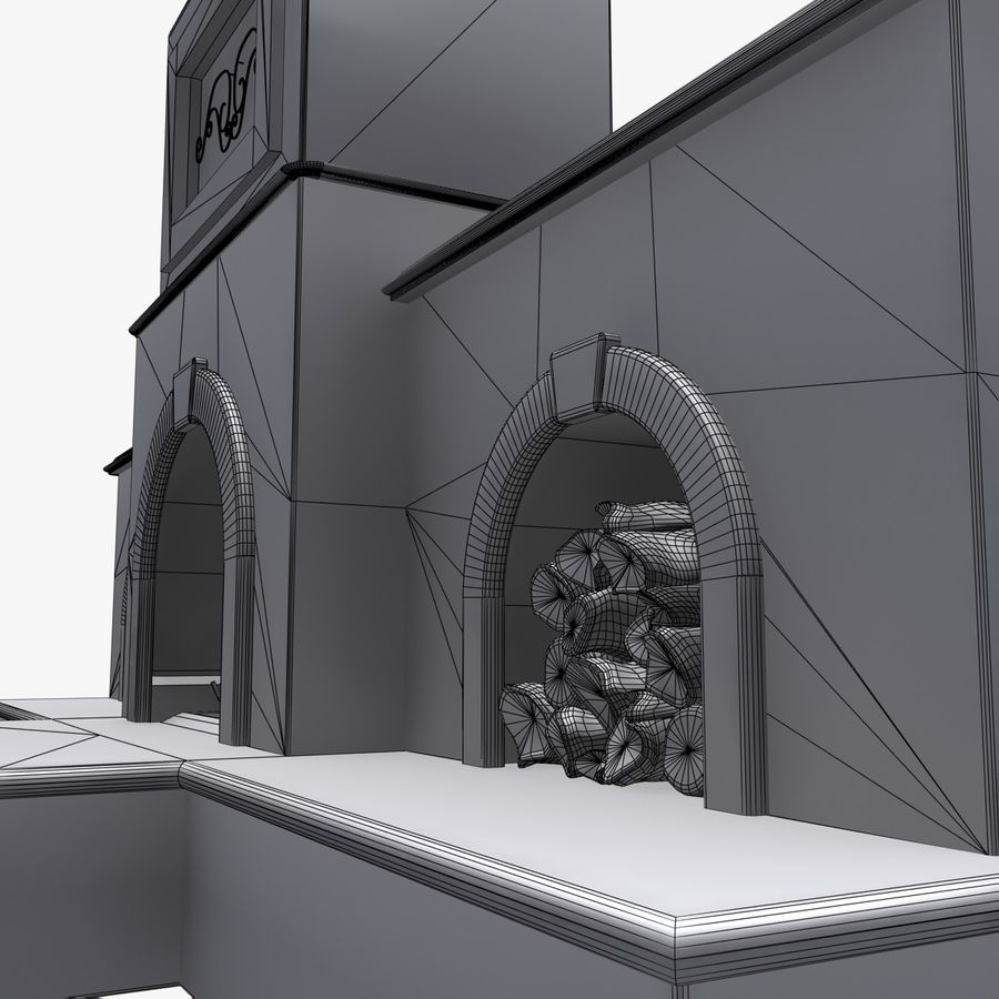 Animated Outdoor Fireplace royalty-free 3d model - Preview no. 12