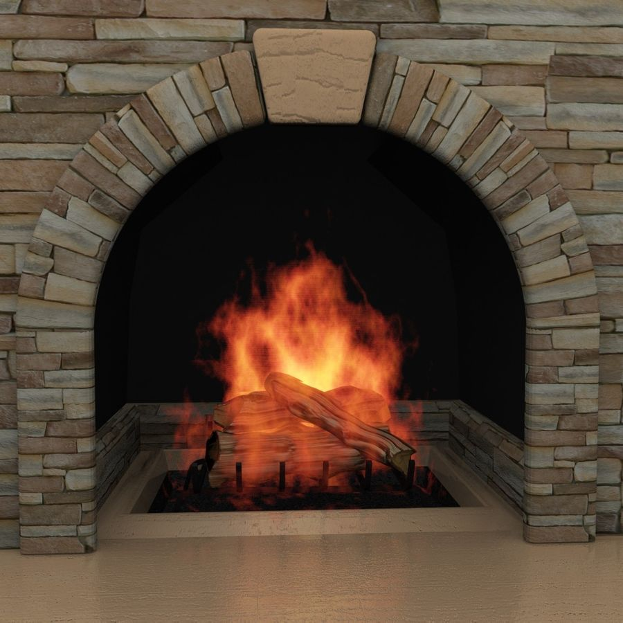 Animated Outdoor Fireplace royalty-free 3d model - Preview no. 2