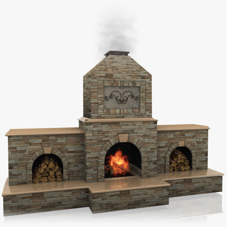 Animated Outdoor Fireplace royalty-free 3d model - Preview no. 1