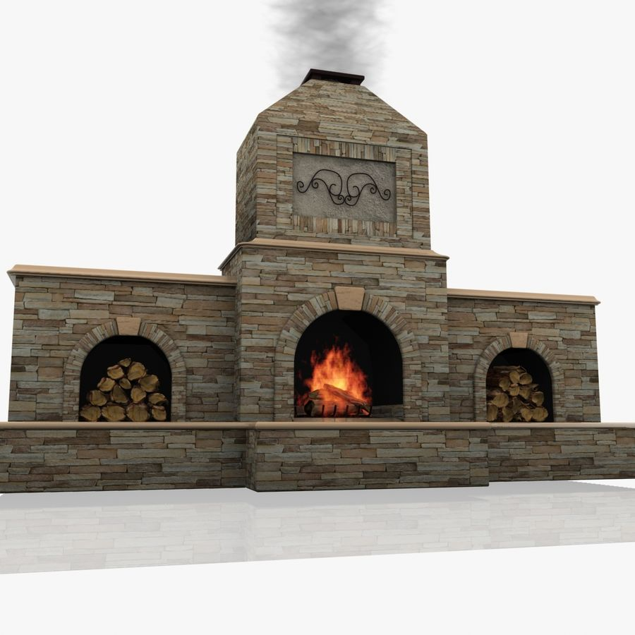 Animated Outdoor Fireplace royalty-free 3d model - Preview no. 7