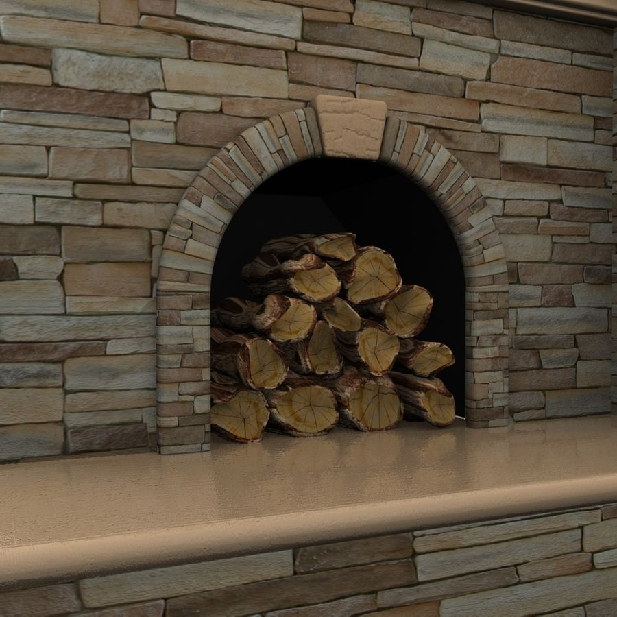 Animated Outdoor Fireplace royalty-free 3d model - Preview no. 3