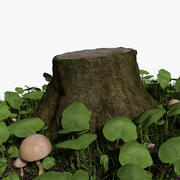 Tree Stump and Grass 3d model