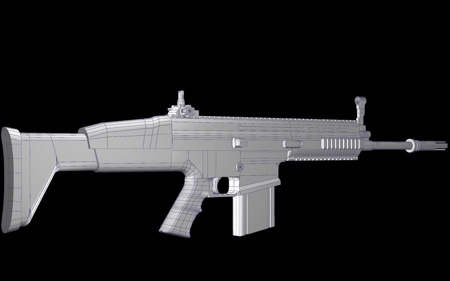 FN Scar Assault Rifle royalty-free 3d model - Preview no. 16