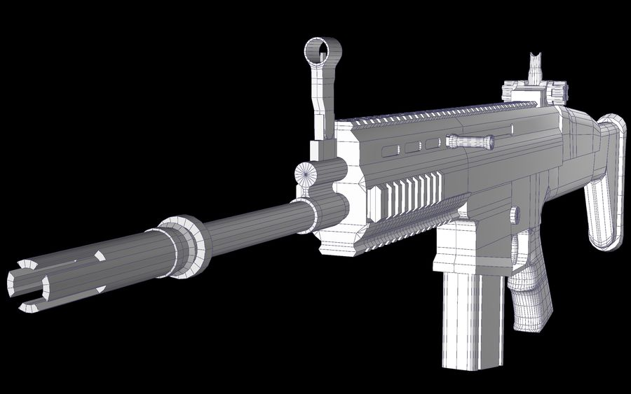 FN Scar Assault Rifle royalty-free 3d model - Preview no. 11
