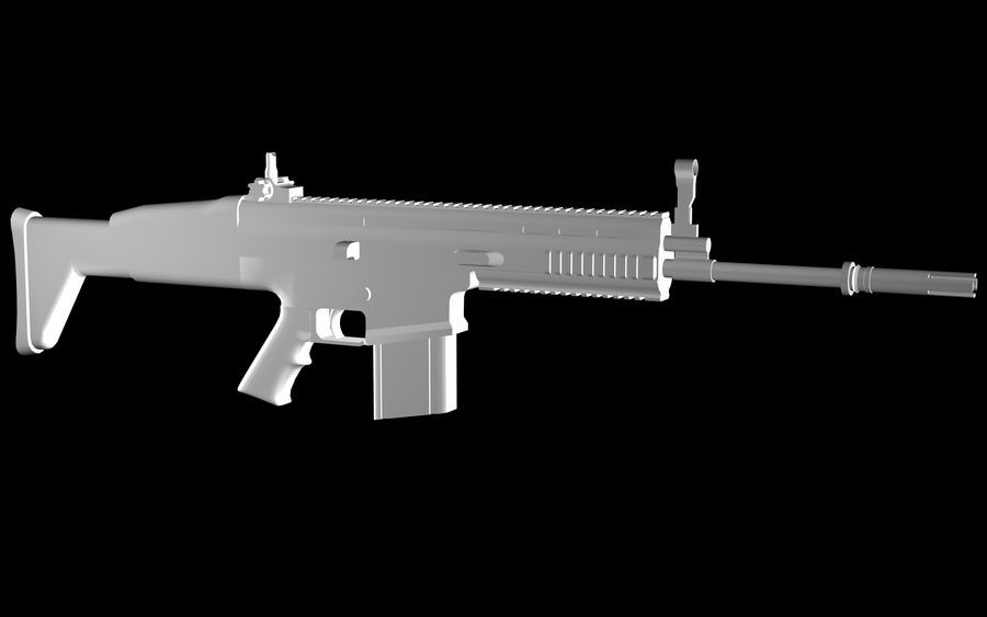 FN Scar Assault Rifle royalty-free 3d model - Preview no. 13