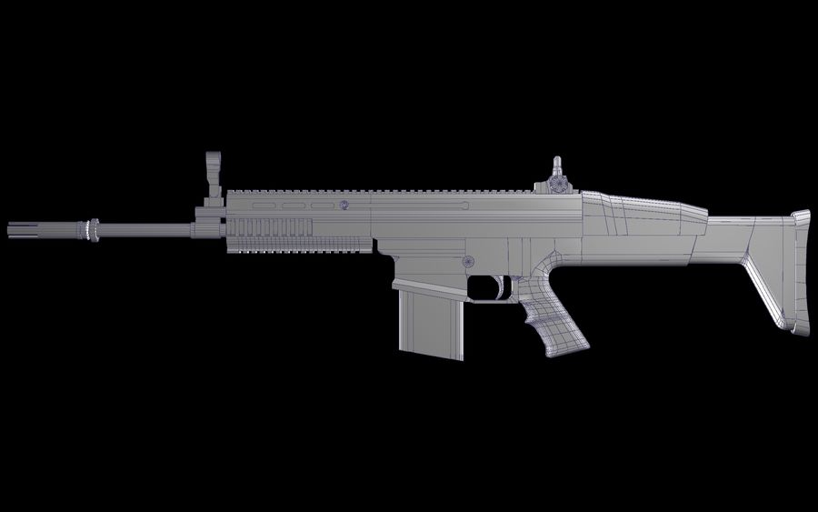 FN Scar Assault Rifle royalty-free 3d model - Preview no. 14