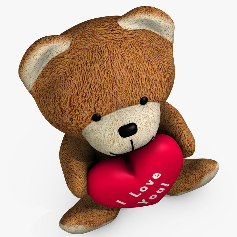 Bear Holding a Heart royalty-free 3d model - Preview no. 5