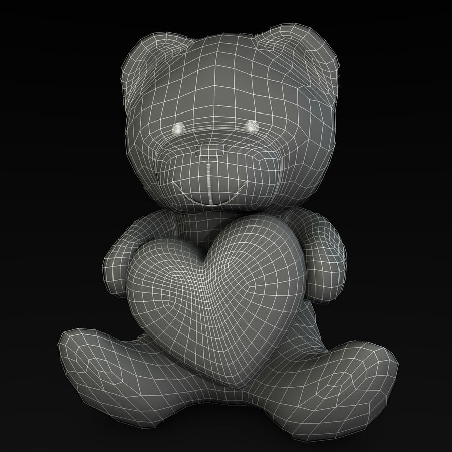Bear Holding a Heart royalty-free 3d model - Preview no. 7