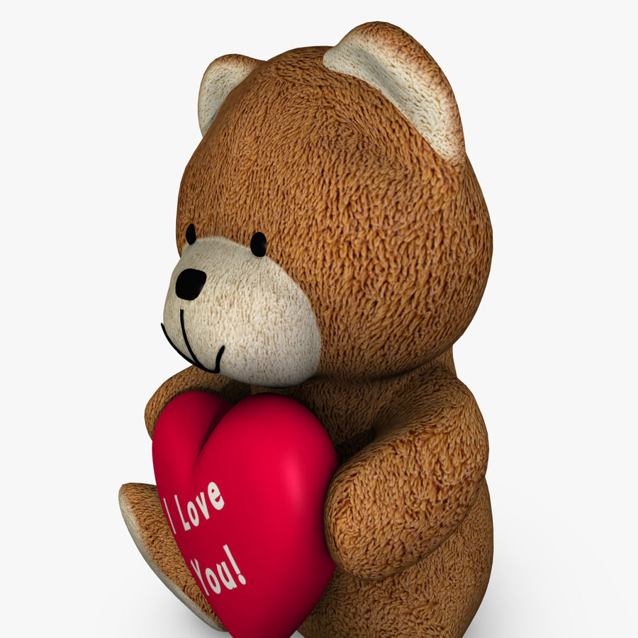 Bear Holding a Heart royalty-free 3d model - Preview no. 3