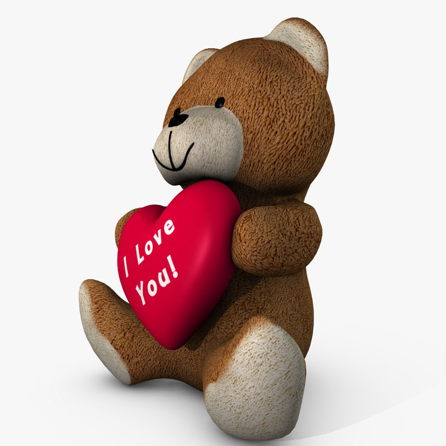 Bear Holding a Heart royalty-free 3d model - Preview no. 4