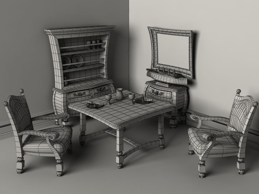 Cartoon look-like furnitures set royalty-free 3d model - Preview no. 5