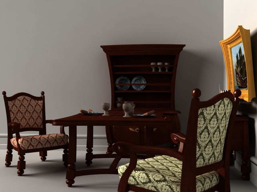 Cartoon look-like furnitures set royalty-free 3d model - Preview no. 3