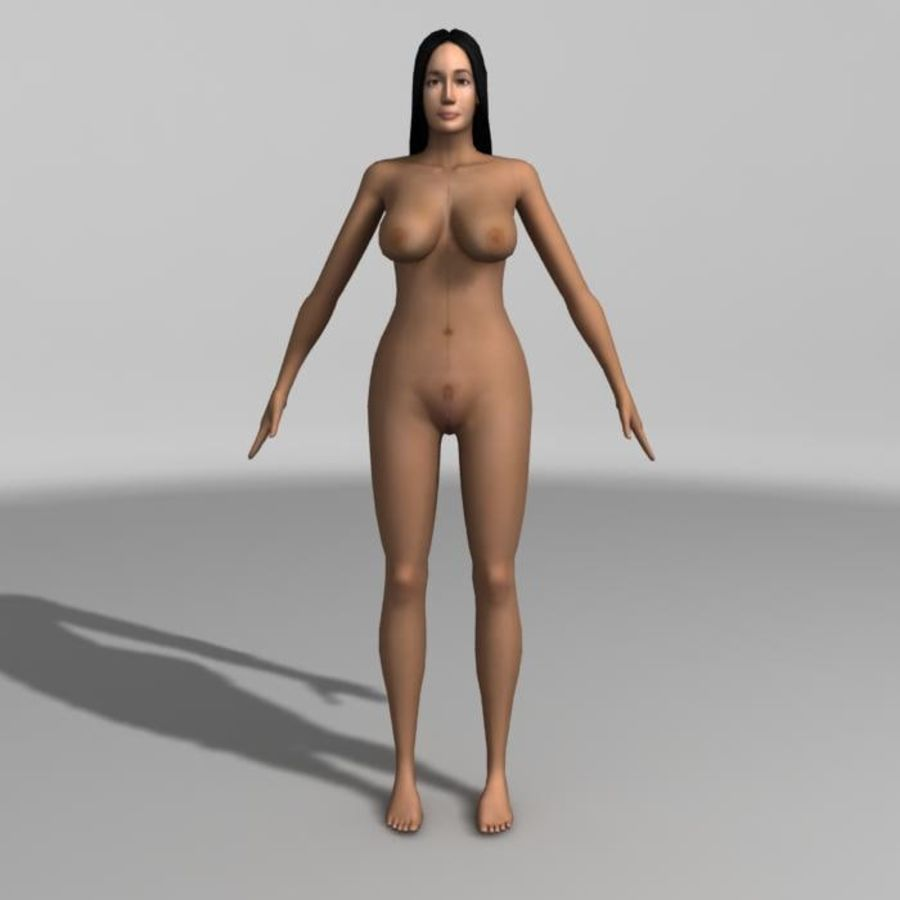 Asian Woman (rigged) royalty-free 3d model - Preview no. 3