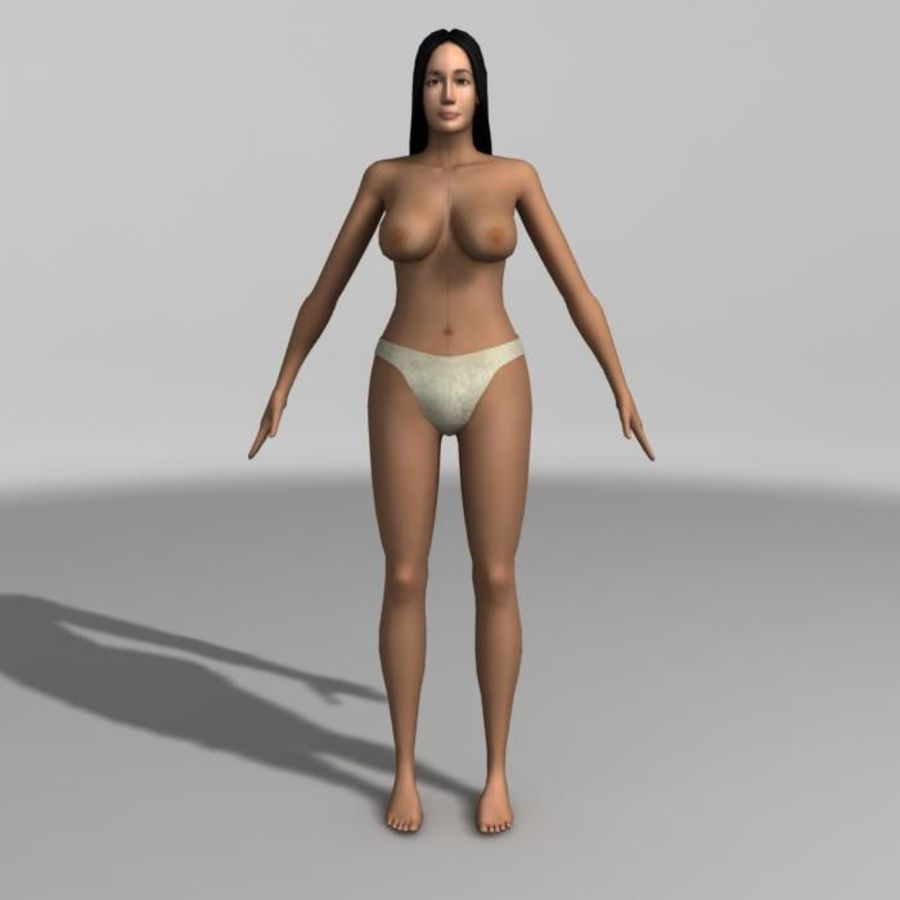 Asian Woman (rigged) royalty-free 3d model - Preview no. 4