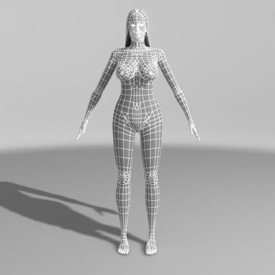 Asian Woman (rigged) royalty-free 3d model - Preview no. 12