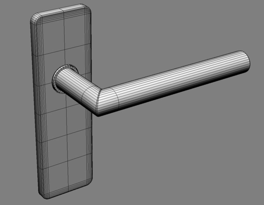 Simple door handle royalty-free 3d model - Preview no. 5
