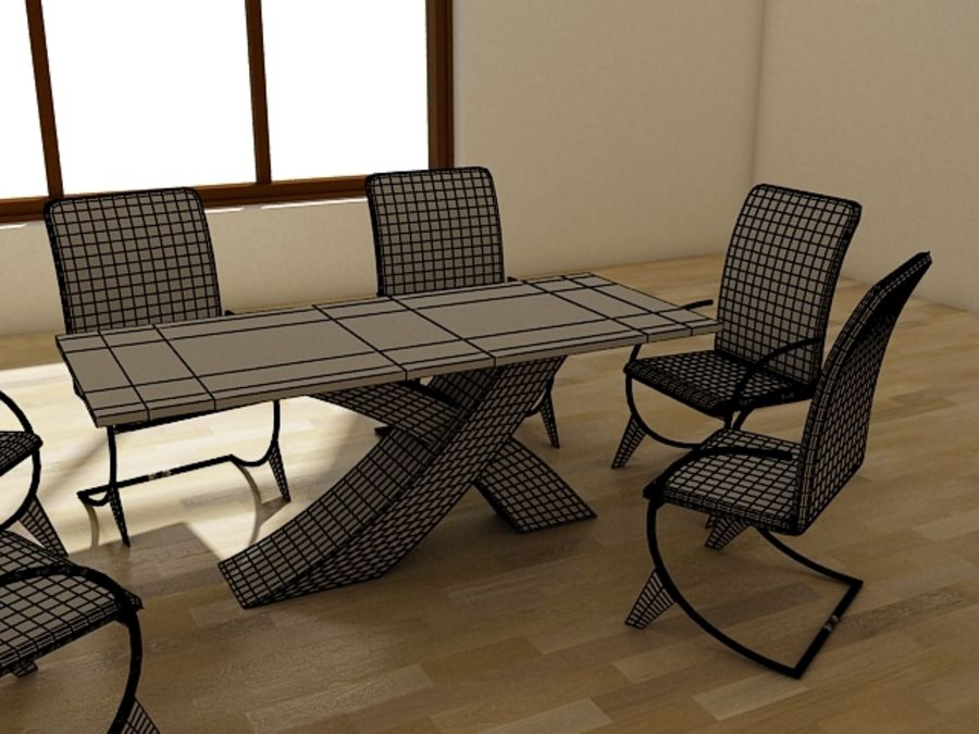 dinner table royalty-free 3d model - Preview no. 8