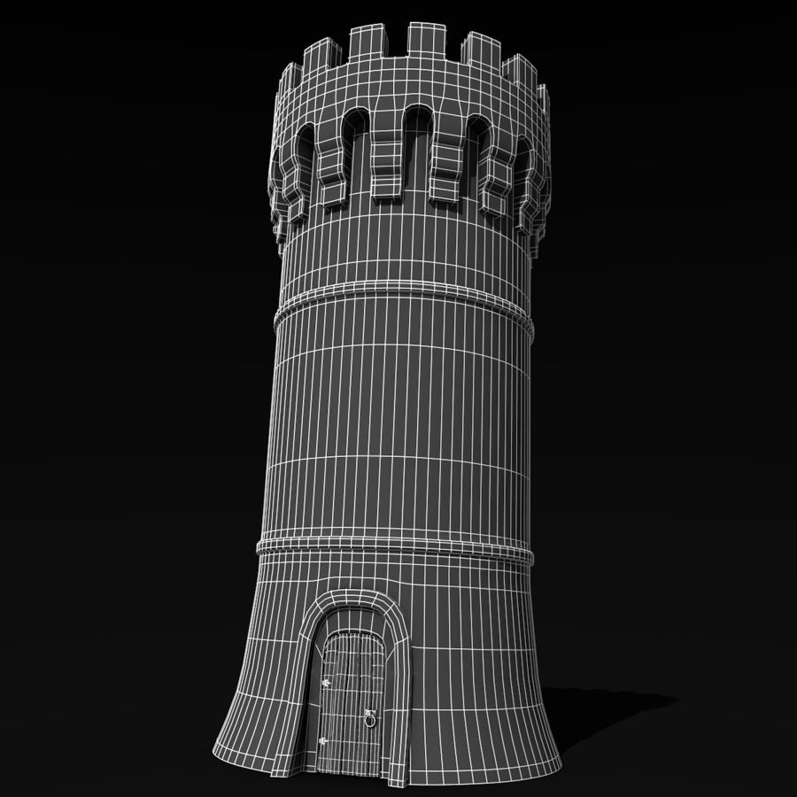 Medieval Castle Tower royalty-free 3d model - Preview no. 8