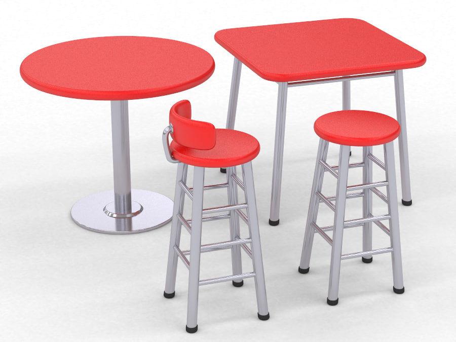Sgabello e tavolo modello d obj max fbx ds free d