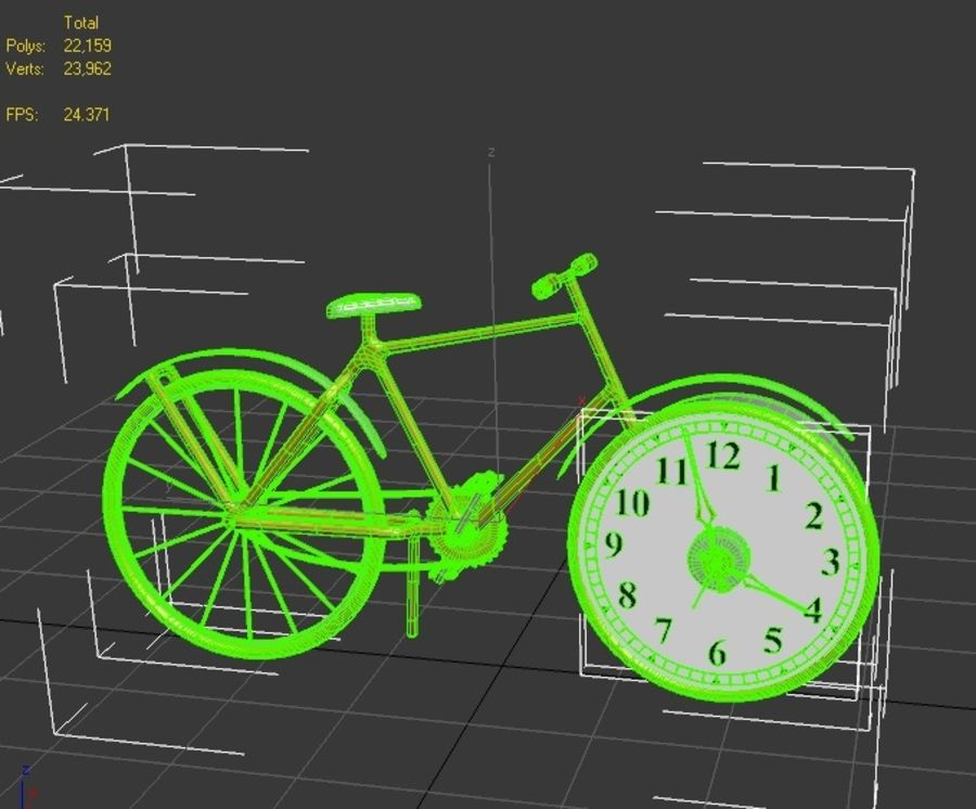 Bicycle Clock royalty-free 3d model - Preview no. 6