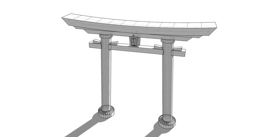 Japanese Gate - Torii wooden garden gate royalty-free 3d model - Preview no. 4