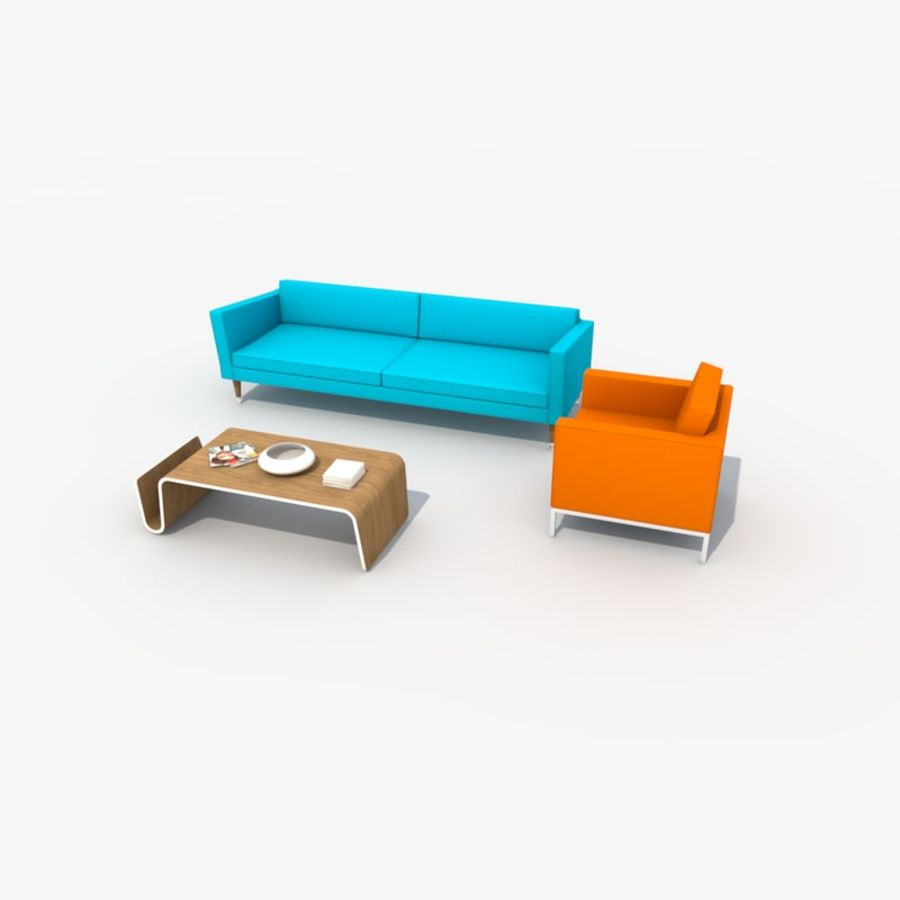 Sofa Furniture Set_Retro royalty-free 3d model - Preview no. 13