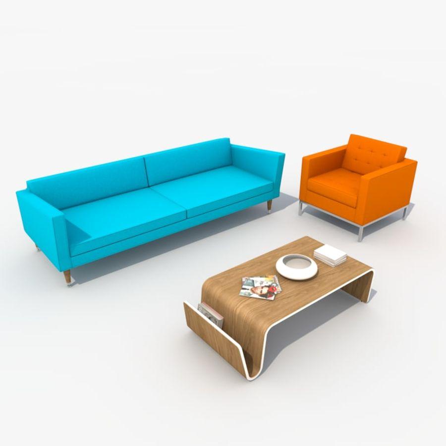 Sofa furniture set retro 3d model 20 obj fbx dxf for Divan furniture models