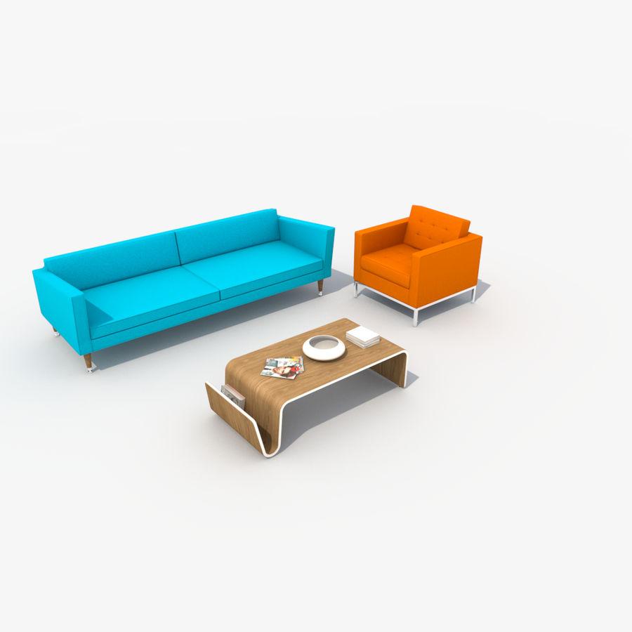 Sofa Furniture Set_Retro royalty-free 3d model - Preview no. 2
