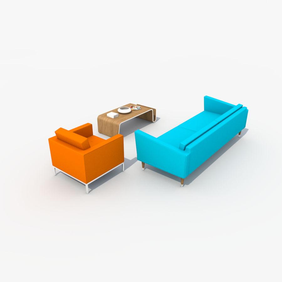 Sofa Furniture Set_Retro royalty-free 3d model - Preview no. 9