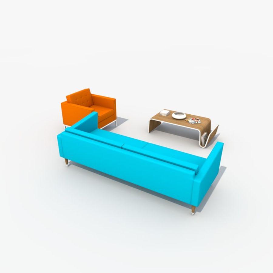 Sofa Furniture Set_Retro royalty-free 3d model - Preview no. 6