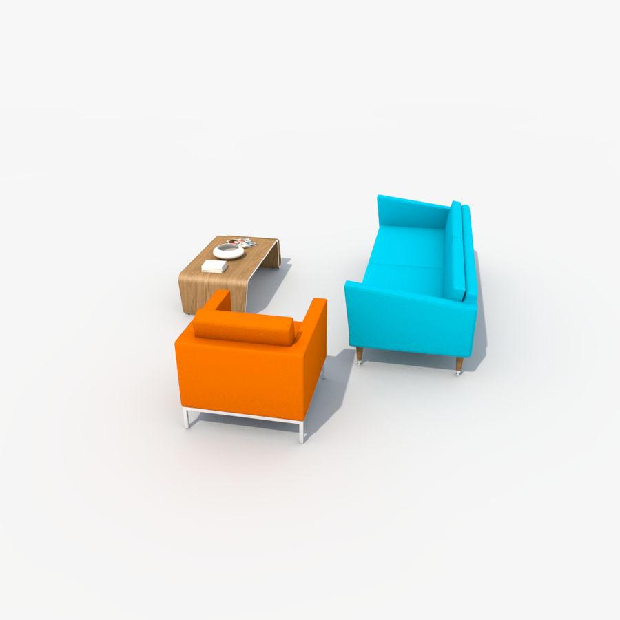 Sofa Furniture Set_Retro royalty-free 3d model - Preview no. 10