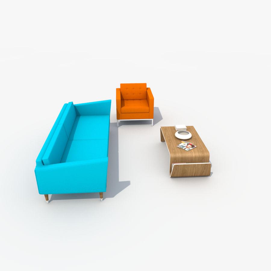 Sofa Furniture Set_Retro royalty-free 3d model - Preview no. 4