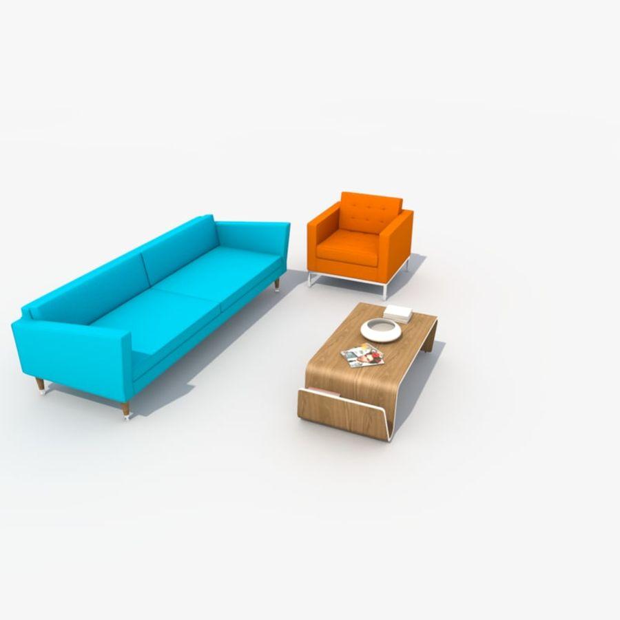 Sofa Furniture Set_Retro royalty-free 3d model - Preview no. 3
