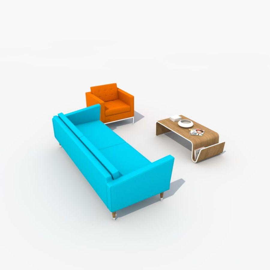 Sofa Furniture Set_Retro royalty-free 3d model - Preview no. 5