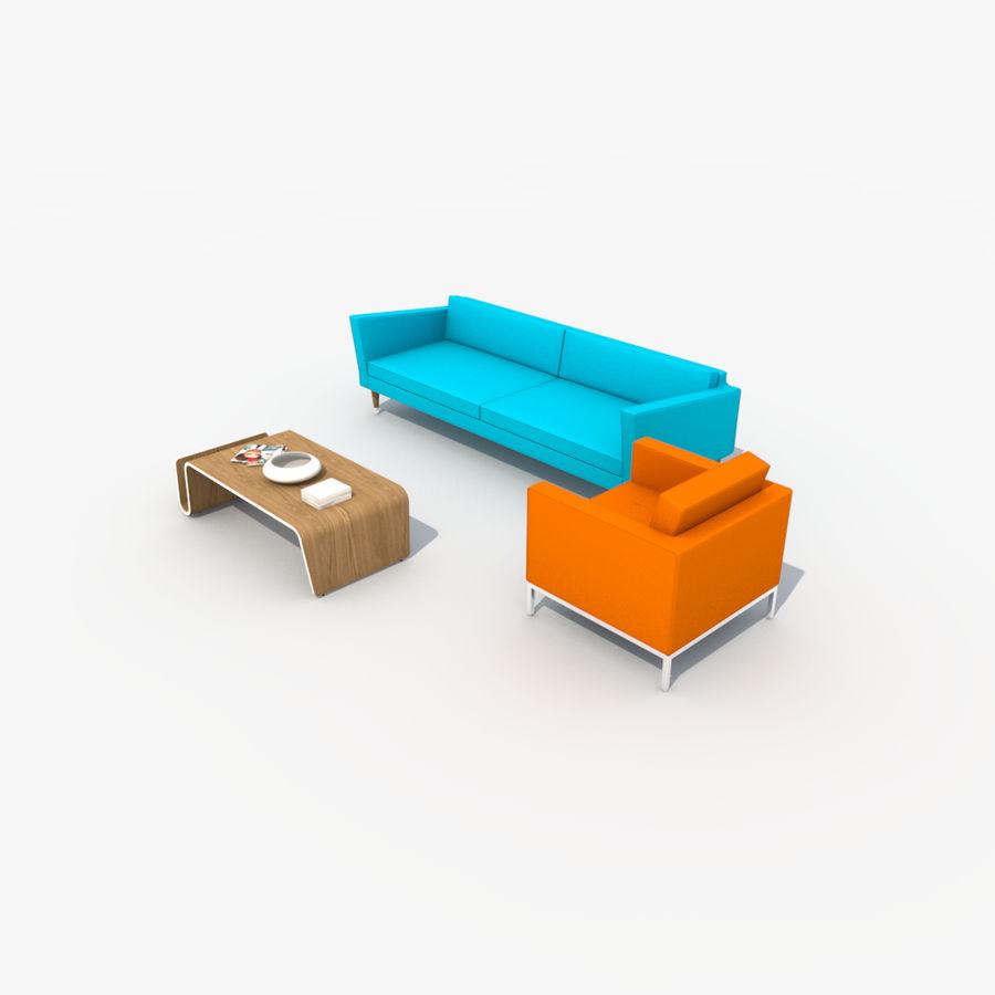 Sofa Furniture Set_Retro royalty-free 3d model - Preview no. 12