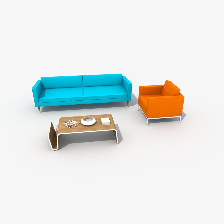 Sofa Furniture Set_Retro royalty-free 3d model - Preview no. 14
