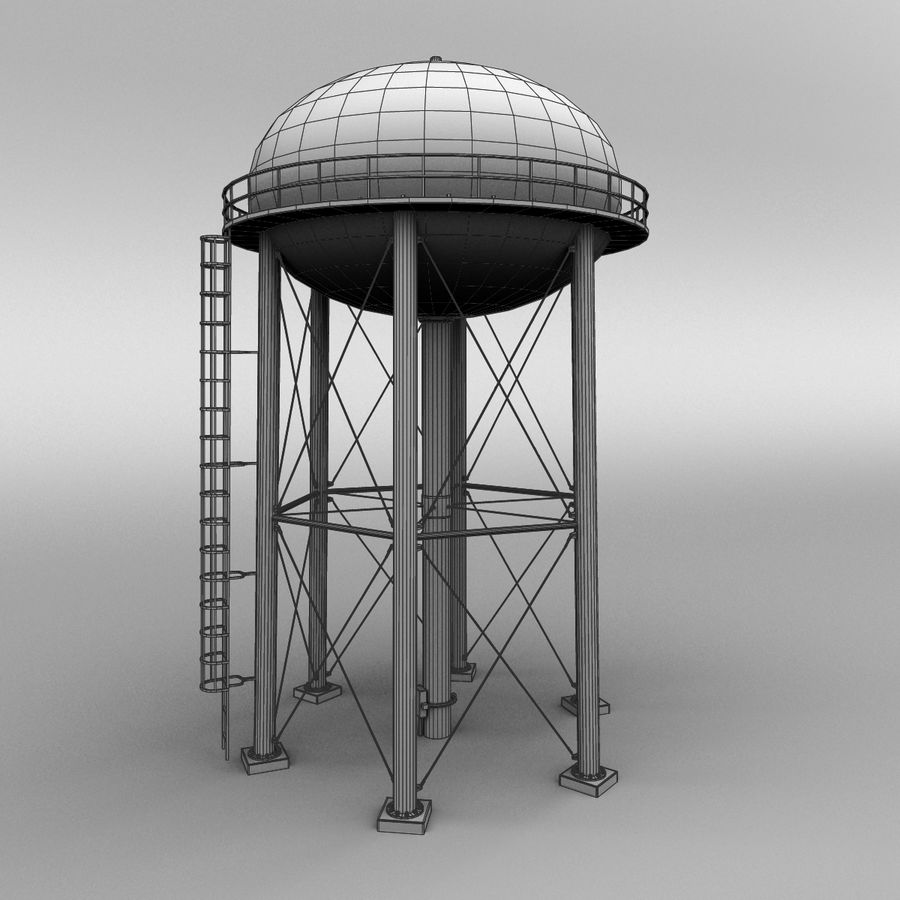 Water tower royalty-free 3d model - Preview no. 9