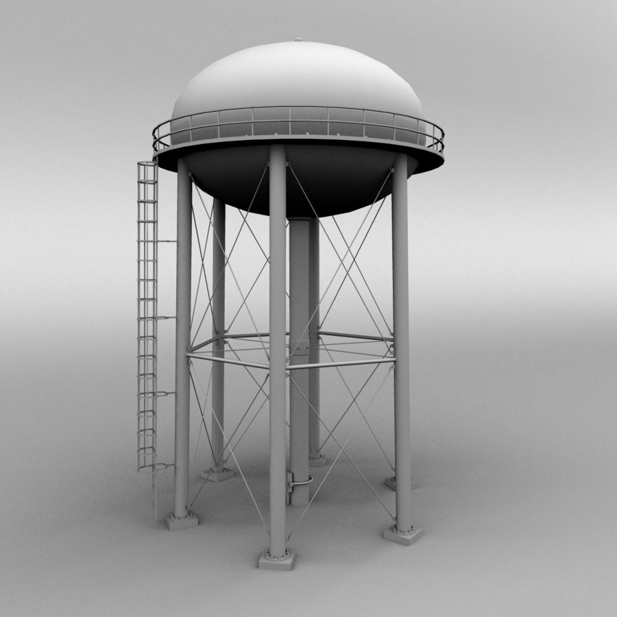 Water tower royalty-free 3d model - Preview no. 8