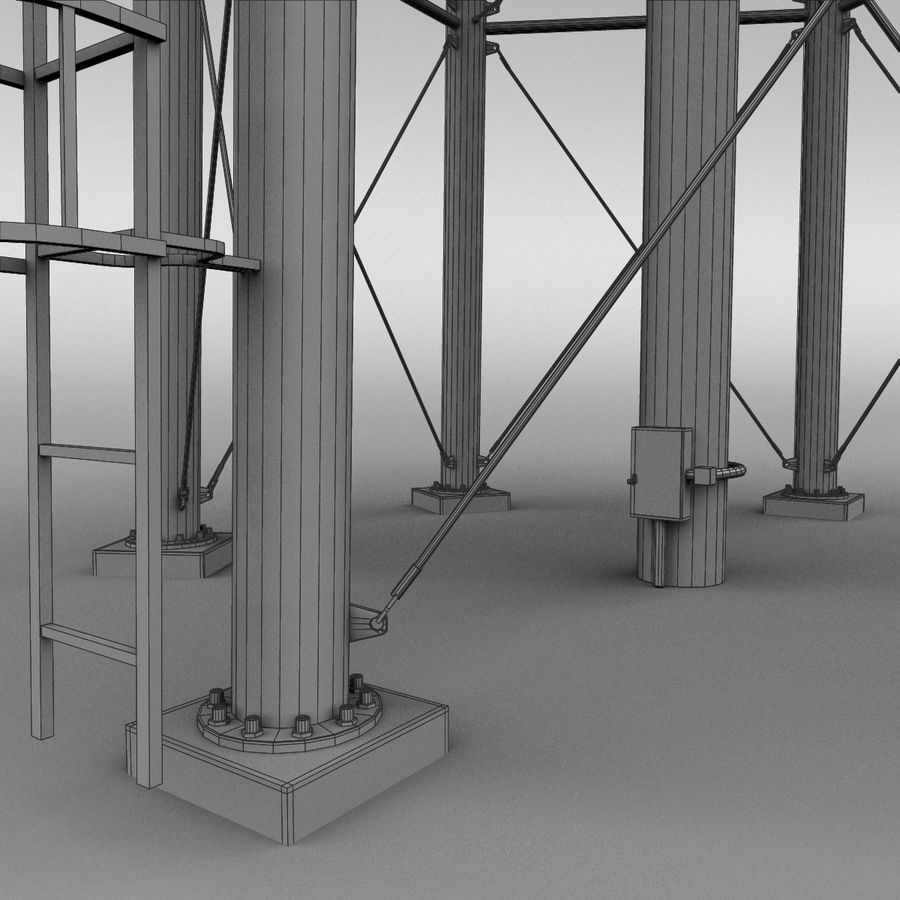 Water tower royalty-free 3d model - Preview no. 11